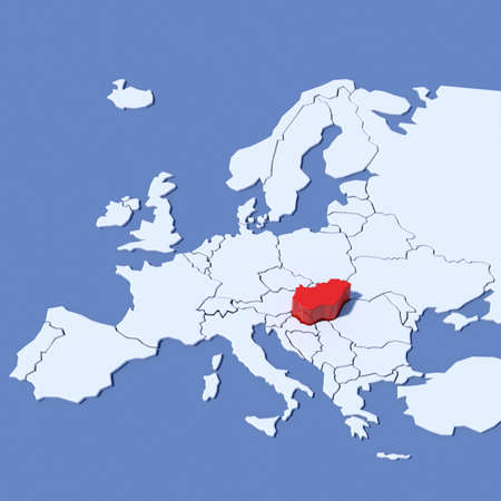 3D Map of Europe with indication Hungary
