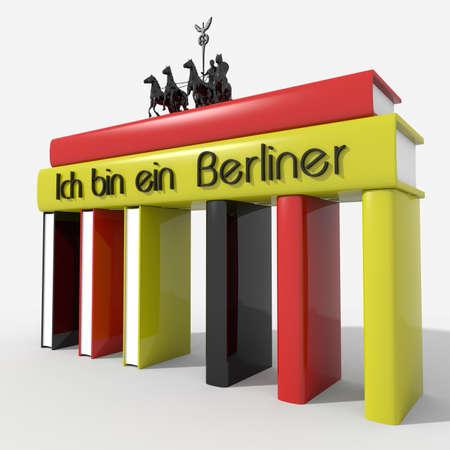 Brandenburg Gate with books colors and Germany \ Ich bin ein Berliner \ photo