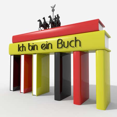 buch: Brandenburg Gate with books colors and Germany \ Ich bin ein Buch \ Stock Photo