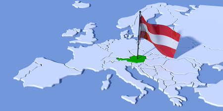 3D map of Europe with Austria flag Stock fotó - 37433964
