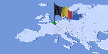 3D map of Europe with flag Belgium