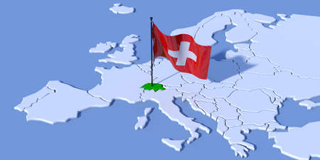 3D map of Europe with Swiss flag