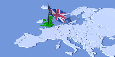 3D map of Europe with UK flag