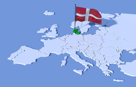 3D map Europe Denmark flag