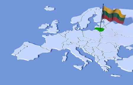 3D Map Europe Lithuania flag