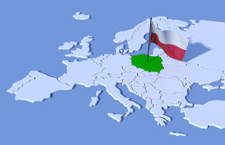 3D map of Europe flag Poland 스톡 콘텐츠