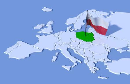 bandera de polonia: Mapa 3D de Europa bandera de Polonia