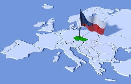 3D map Europe Czech Republic flag Stock Photo