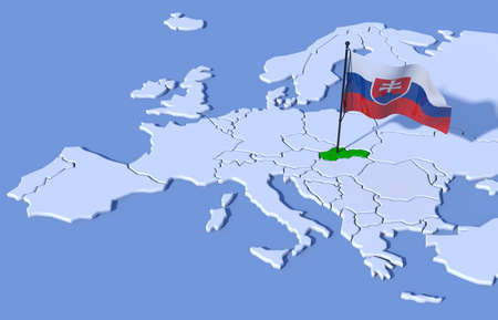 3D map of Europe flag Slovakia
