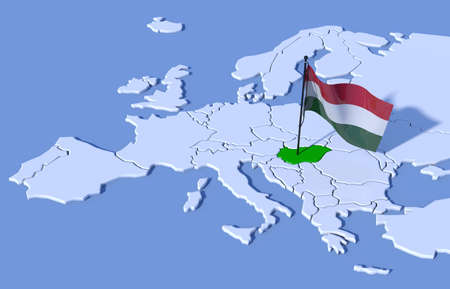 3D map of Europe flag Hungary 스톡 콘텐츠