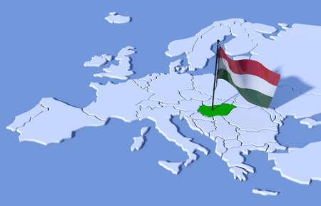 bandera de polonia: Mapa 3D de Europa Bandera de Hungría