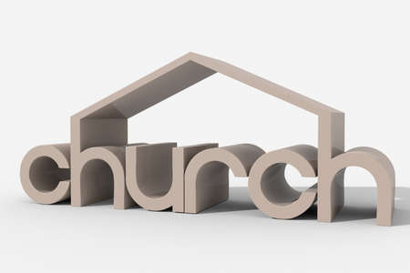 church 3d:  3D  church  shaped building Stock Photo