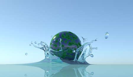 liquid state: Splash with planet