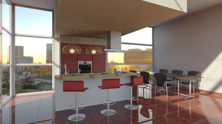 large windows: Furniture 3D interior of kitchen with large windows