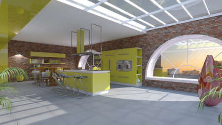kitchen furniture: Furniture 3D interior of kitchen with large windows