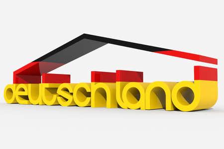 deutschland: 3D deutschland shaped building Stock Photo