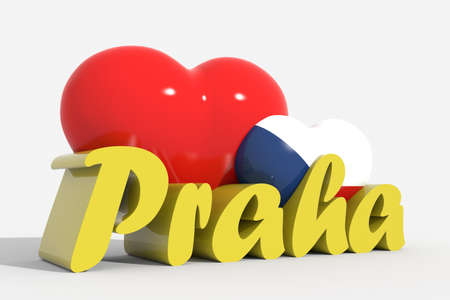 praha: 3d hearts with text Praha Stock Photo