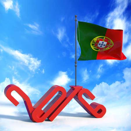 bandera de portugal: Año 2016 con la bandera de Portugal Foto de archivo