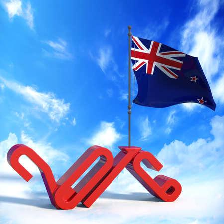 flag of new zealand: Year 2016 with flag New Zealand Stock Photo