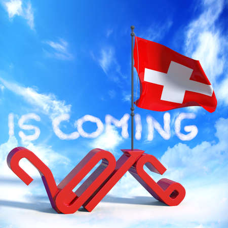 next year: 2016 is coming with flag Switzerland Stock Photo