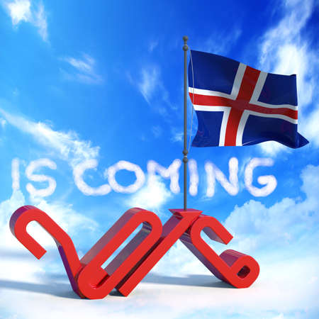 next year: 2016 is coming with flag Iceland