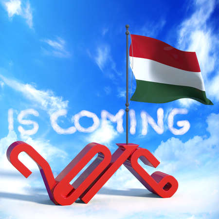 next year: 2016 is coming with flag Hungary
