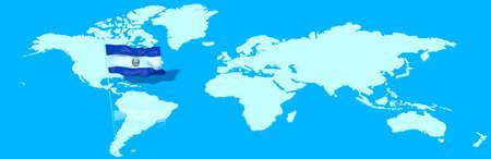 bandera de el salvador: El planeta Tierra 3D con la bandera de El Salvador en el viento
