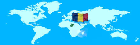 chadian: 3D planet Earth with the Chadian flag wind