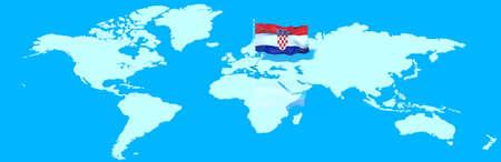 bandera croacia: 3D planeta tierra con el viento Croacia bandera.