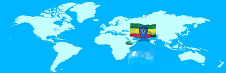 mondo: 3D planet Earth with the Ethiopia flag wind Stock Photo