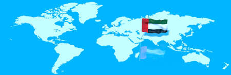 mondo: 3D planet Earth with the wind flag United Arab