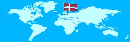 mondo: Planet Earth 3D with flag Denmark to wind Stock Photo
