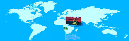 mondo: Planet Earth 3D flag with the wind Angola Stock Photo