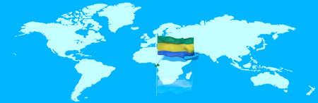 mondo: Planet Earth 3D with flag Gabon wind Stock Photo