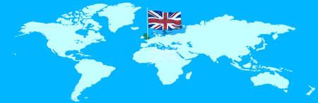 mondo: 3D earth with UK flag