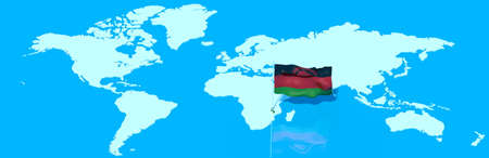 malawian flag: 3D planet Earth with Malawian flag in the wind Stock Photo