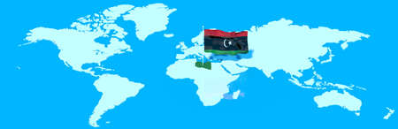 libyan: 3D planet Earth with Libyan flag in the wind