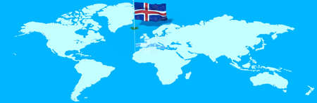 iceland flag: 3D planet Earth with the Iceland flag wind