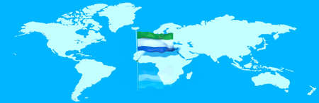 mondo: Planet Earth with 3D flag in the wind Sierra Leone