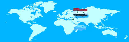 mondo: 3D planet Earth with the Syria flag wind