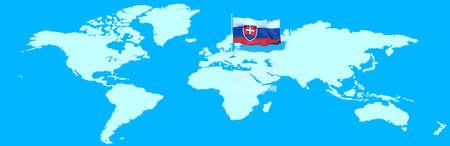 mondo: Planet Earth 3D flag with the wind Slovakia