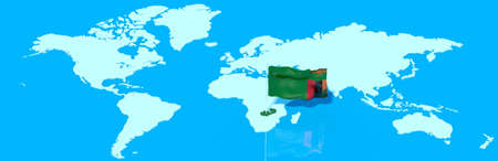 zambia flag: 3D planet Earth with the Zambia flag wind
