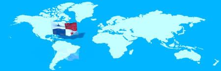 bandera de panama: El planeta Tierra con la bandera 3D en el viento Panamá