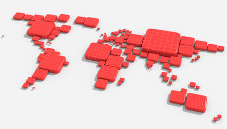 nations: Map 3D Earth with embossed and colored nations Stock Photo