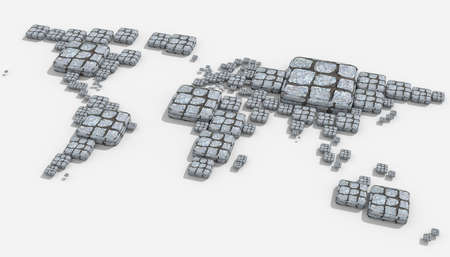 mondo: Map 3D Earth with geometric shapes and different materials