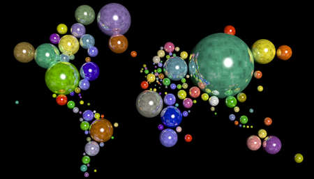 Map 3D Earth with geometric spheres and different materials