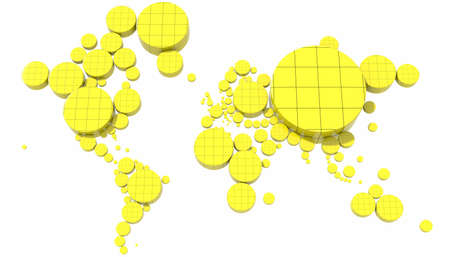 Map 3D Earth with colored cylinders Stock Photo