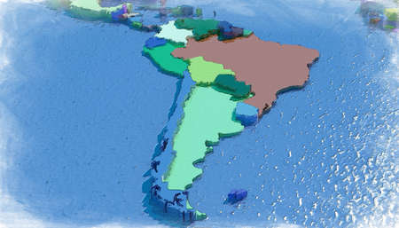 3D map of South America with colored embossed nations Foto de archivo