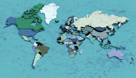 Map 3D Earth with embossed and colored nations Stock Photo