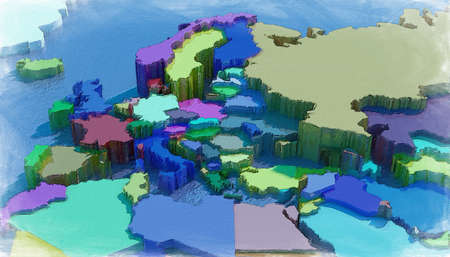 nations: Europe 3D map with colored embossed nations